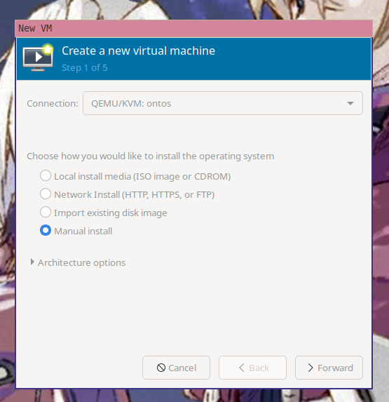 """The first step of the """"create a new virtual machine"""" wizard in virt-manager with """"manual install"""" selected"""