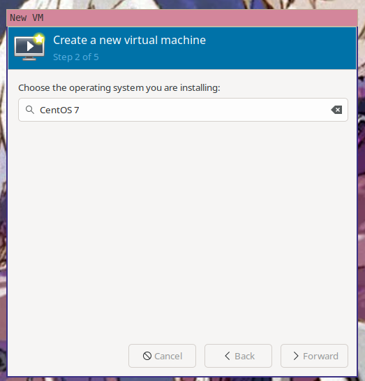 """The second step of the """"create a new virtual machine"""" wizard in virt-manager with """"CentOS 7"""" selected as the OS the virtual machine will be running"""