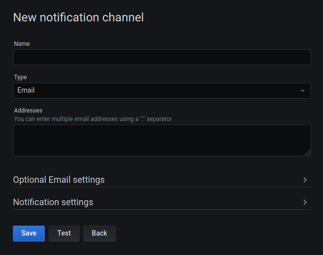 Notification Channel configuration